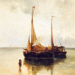 Barcas (Nicolás Alfaro y Brieva)|Óleo sobre lienzo. 110 x 71 cm. Museo Municipal de Bellas Artes. Santa Cruz de Tenerife