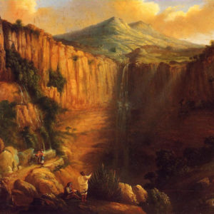 Paisaje con cascada (Nicolás Alfaro y Brieva)|Óleo sobre lienzo. 60 x 73 cm. Colección particular. Santa Cruz de Tenerife