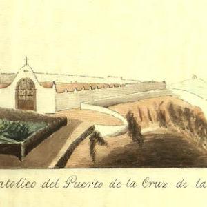 Cementerio Católico del Puerto de la Cruz.|1852. Dibujo a la aguada. Ilustración del manuscrito Descripción histórica del Puerto de la Cruz escrito entre 1846 y 1872