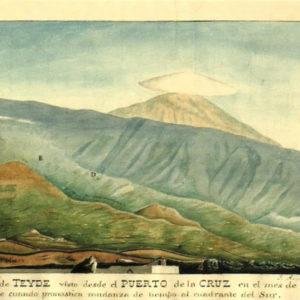El Pico de Teyde visto desde el Puerto de la Cruz en el mes de noviembre.|1836. Acuarela. Colección particular. Puerto de la Cruz. Tenerife