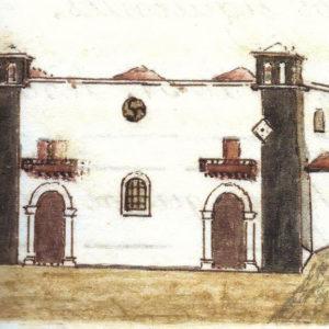 Fachada de Nuestra Señora de la Peña.|C. 1846-1872. Dibujo a plumilla coloreado a la aguada. Ilustró el manuscrito original de Descripción histórica del Puerto de la Cruz realizado entre 1846 y 1872