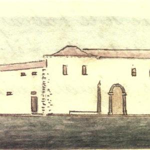Fachada del monasterio de Nuestra Señora de Las Nieves.|C.1846-72. Dibujo a la aguada. Ilustración del manuscrito original de Descripción histórica del Puerto de la Cruz realizado entre 1846 y 1872