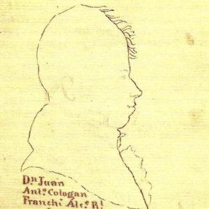 Perfil de Juan Antonio Cologan Franchi.|C.1846-72. Dibujo a plumilla. Ilustró el manuscrito Descripción histórica del Puerto de la Cruz realizado entre 1846 y 1872