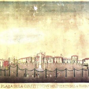Plaza del Charco.|Acuarela. Colección particular. Puerto de la Cruz. Tenerife. *|Obra de José Agustín Álvarez Rixo