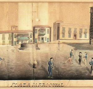 La Plaza Parroquial.|1829. Dibujo coloreado a la aguada. Colección particular. Puerto de la Cruz. Tenerife