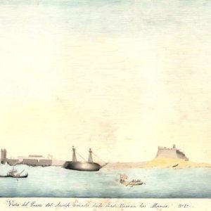 Vista del Puerto del Arrecife tomado desde donde llaman las Marcas.|C.1846-66. Dibujo coloreado a la aguada. Ilustró el manuscrito Historia del Puerto del Arrecife, realizado entre 1846 y 1866