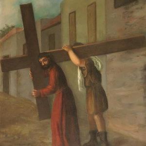 El Cirineo ayuda a llevar la Cruz a Jesús.|Óleo sobre lienzo. 78,5x60 cm. Iglesia de La Concepción. La Laguna, Tenerife