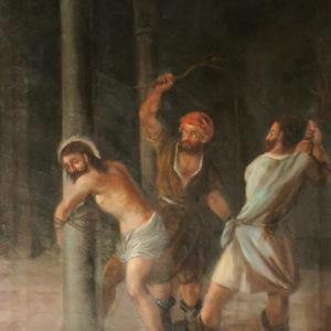 Jesúa atado a la columna y flagelado.|Óleo sobre lienzo. 78,5x60 cm. Iglesia de la Concepción. La Laguna, Tenerife