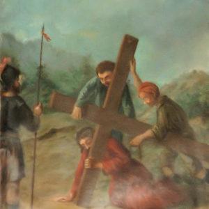 Jesús cae por tercera vez camino del Calvario.|Óleo sobre lienzo. 78,5x60 cm. Iglesia de la Concepción. La Laguna. Tenerife