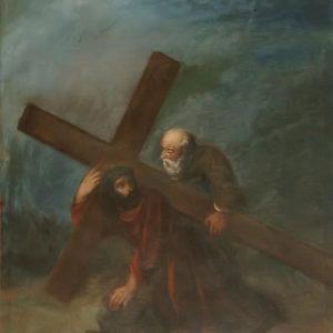 Jesús con la cruz caído en el suelo.|Óleo sobre lienzo. 78,5x60 cm. Iglesia de la Concepción. La Laguna, Tenerife