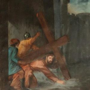 Jesús en su segunda caída camino del Calvario.|Óleo sobre lienzo. 78,5x60 cm. Iglesia de la Concepción. La Laguna, Tenerife