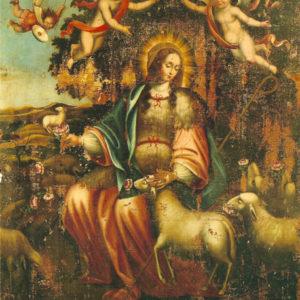 Divina Pastora de las Almas. Óleo sobre lienzo. 210x162 cm. Iglesia de San Francisco. Santa Cruz de La Palma (La Palma).