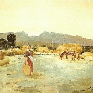 La era de don Miguel (Güimar).|Óleo sobre lienzo. 56x70,5 cm. Colección particular. Santa Cruz de Tenerife