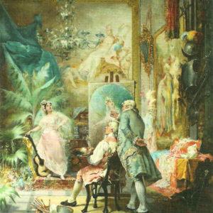 Le conseil du vieux maître.|1882. Óleo sobre lienzo. 61x51 cm. Colección Hotel Botánico. Puerto de la Cruz (Tenerife)