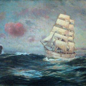 Marina. Óleo sobre lienzo. 82x191 cm. Colección particular. Tegueste (Tenerife)