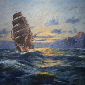 Marina al atardecer. Óleo sobre lienzo. 48x68 cm. Colección RACBA. Santa Cruz de Tenerife.