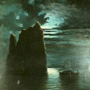 Nocturno con roca. Óleo sobre lienzo. Colección particular. Santa Cruz de Tenerife.