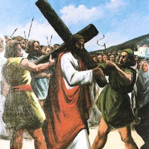 Segunda Estación: Jesús con la Cruz a cuestas. Óleo sobre lienzo. Iglesia de San Marcos de Icod. Tenerife.