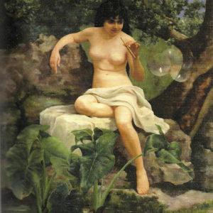Bañista haciendo pompas de jabón. 1882. Óleo sobre lienzo. 200x150 cm. Casa Museo León y Castillo. Telde (Gran Canaria).
