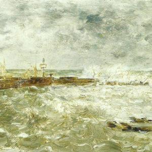Día de reboso en el Muelle de Las Palmas. 1890. Óleo sobre táblex. 15x22,5 cm aprox. Casa de Colón. Las Palmas de Gran Canaria.