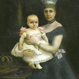 Retrato de la Reina María Cristina y Alfonso XIII niño. 1888. Ayuntamiento de Las Palmas de Gran Canaria.
