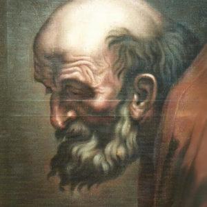 Cabeza de sacerdote.|C.1868. Óleo sobre lienzo. 58x41,4 cm. Colección particular. Icod de Los Vinos, Tenerife