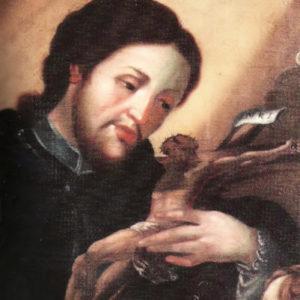 San Juan Nepomuceno (detalle).|1853.  Óleo sobre lienzo. Colección particular. Icod de Los Vinos, Tenerife