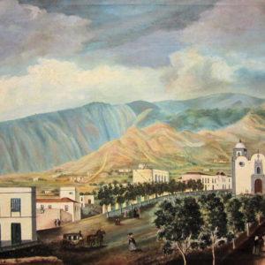 Vista de la plaza de San Pedro de Güímar. Óleo sobre lienzo. 61X84 cm. Fondo de la Casa Museo de Ossuna. La Laguna, Tenerife