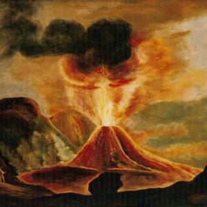 El volcán en erupción. Óleo sobre lienzo. 91x114 cm. Colección particular. Santa Cruz de Tenerife