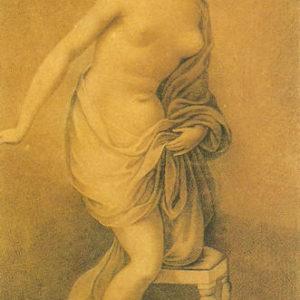 Desnudo femenino.|Hacia 1820. Grisalla y aguatinta. 25x18 cm. Museo Municipal de Bellas Artes. Santa Cruz de Tenerife