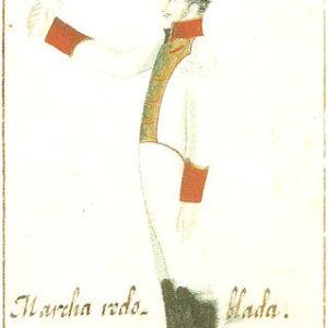 Uniforme del Batallón de Infantería de Canarias.|Aguada sobre papel. Colección Benítez. Biblioteca Municipal de Santa Cruz de Tenerife