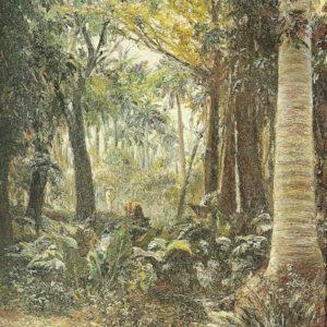 Arboleda con guajiro.|Óleo sobre lienzo. 35x24,5 cm. Museo Nacional de Cuba. La Habana