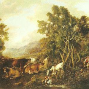 Paisaje con vaca y magos.|Óleo sobre lienzo.88x123 cm. Museo Municipal de Bellas Artes. Santa Cruz de Tenerife