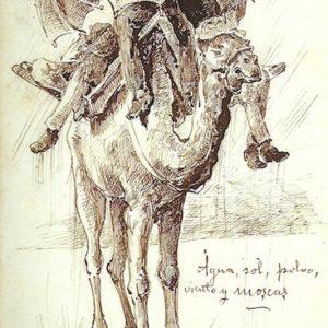 Agua, sol, polvo, viento y moscas (Album De Las Palmas a Fuerteventura).|1887. Dibujo a plumilla sobre papel. 12,3x20,5 cm. Museo Militar Regional. Santa Cruz de Tenerife