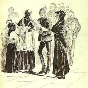 El bautismo del bebé majorero (Album De Las Palmas a Fuerteventura).|1887. Dibujo a plumilla sobre papel. 12,3x20,5 cm. Museo Militar Regional. Santa Cruz de Tenerife