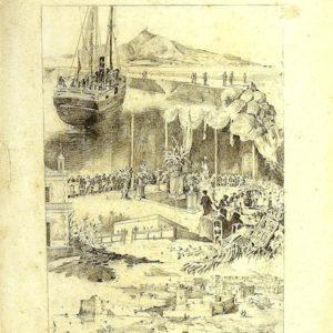 Inauguración de las obras del Puerto de La Luz.|1883. Dibujo a lápiz y plumilla sobre papel. 38,5x31 cm. Colección particular. Las Palmas de Gran Canaria