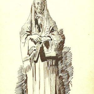La Tía Marcelina (Album De Las Palmas a Fuerteventura).|1887. Dibujo a plumilla sobre papel. 12,3x20,5 cm. Museo Militar Regional. Santa Cruz de Tenerife