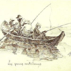 Puerto de Cabras. Las pescas cuotidianas. (Album De Las Palmas a Fuerteventura).|1887. Dibujo a plumilla sobre papel. 12,3x20,5 cm. Museo Militar Regional. Santa Cruz de Tenerife