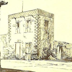 Dibujo de una casa popular que no presenta ningún tipo de leyenda. (Album De Las Palmas a Fuerteventura).|1887. Dibujo a plumilla sobre papel. 12,3x20,5 cm. Museo Militar Regional. Santa Cruz de Tenerife