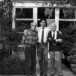 Louis Moret, Christian Leprette y Alberto Sartoris., Cossonay (Lausanne), 1985. (Foto de Christian Leprette)