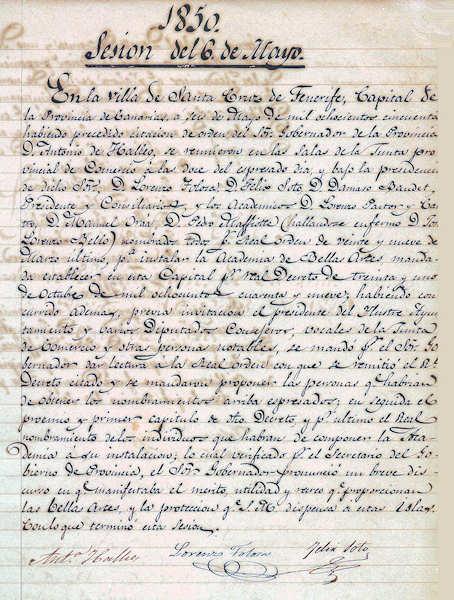 Acta de la sesión inaugural de la RACBA (6 de mayo de 1850).