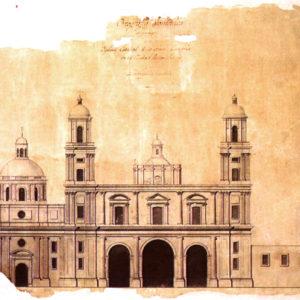 Dibujo de la fachada de la Catedral y la Capilla del Sagrario. Las Palmas de Gran Canaria, 1809